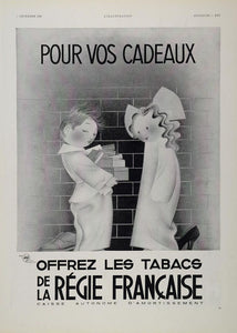 1935 Original Print B/W Ad French Tobacco Children - ORIGINAL ADVERTISING