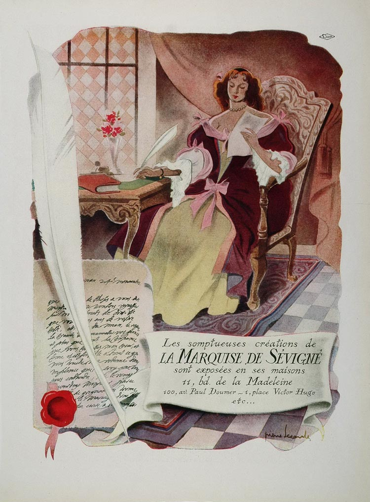 1946 French Ad La Marquise de Sevigne Chocolates Letter - ORIGINAL ADVERTISING