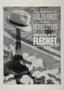 1937 Orig. French Ad Chapeaux Fléchet Hat Eiffel Tower - ORIGINAL ADVERTISING