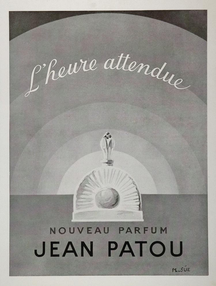 1948 French Ad L'heure Attendue Perfume Jean Patou Scents Beauty Artist M. Sue