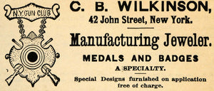 1895 Ad C B Wilkinson Medal Badge Jeweler 42 John St NY - ORIGINAL FS1