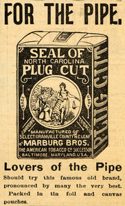 1895 Ad Plug Cut Smoking Tobacco Pipe Marburg Brothers - ORIGINAL FS1