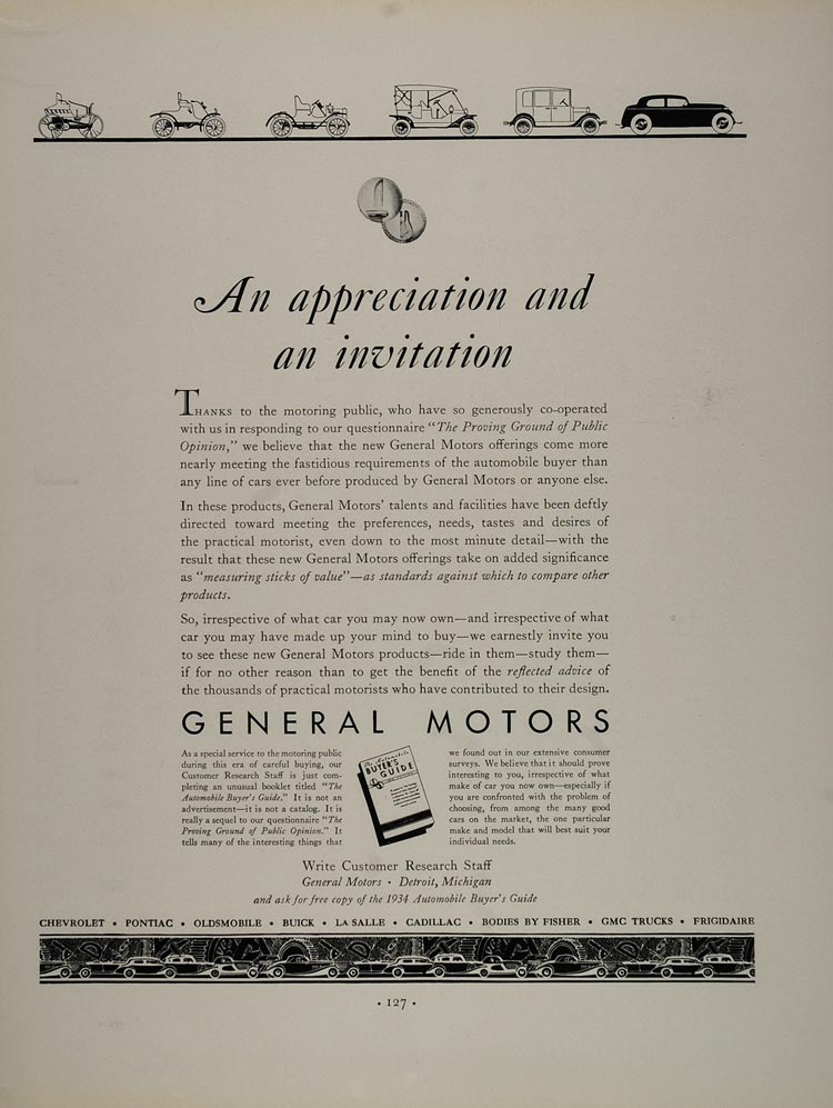 1934 Original Ad General Motors Automobile Buyers Guide - ORIGINAL FT1
