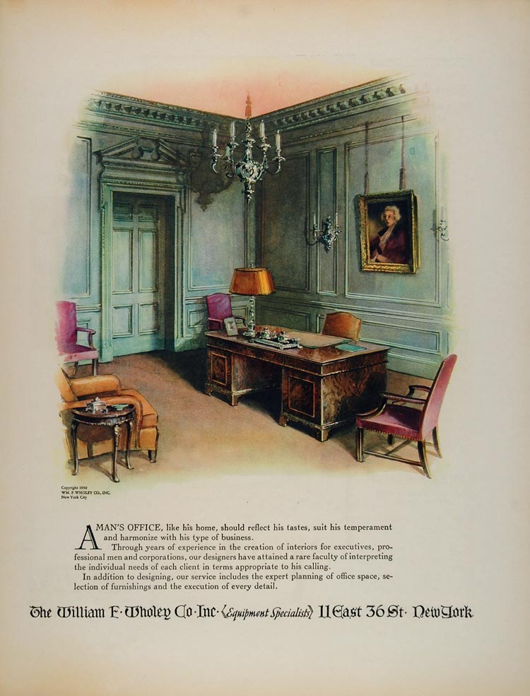 1930 Vintage Ad Executive Office Chair Desk Lamp Wholey - ORIGINAL FT1