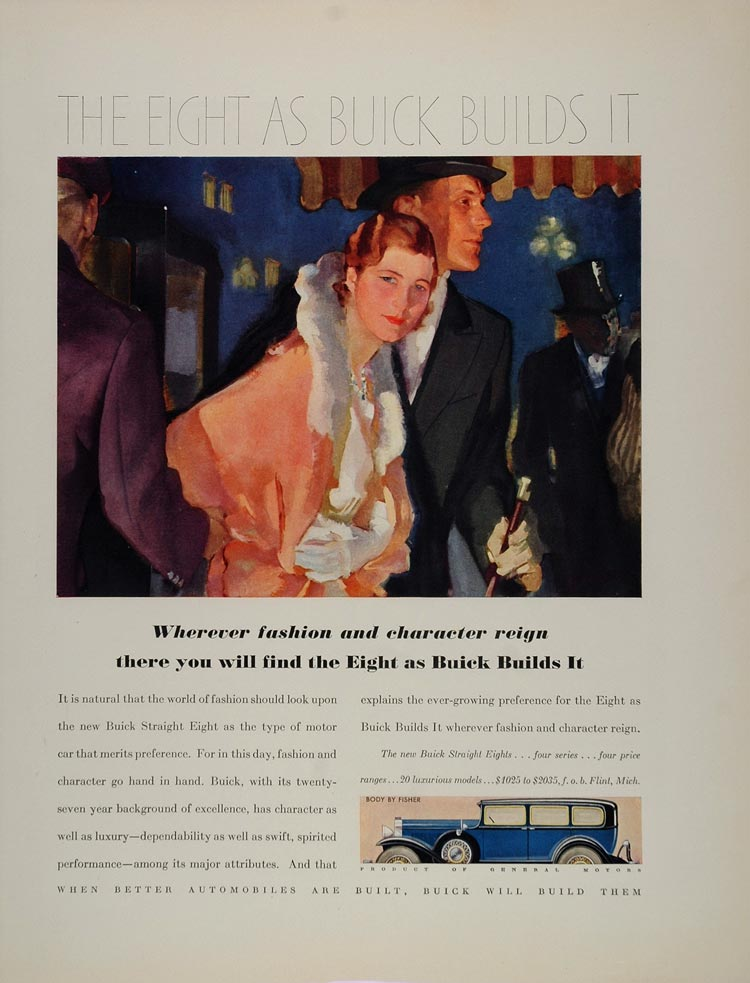 1931 Ad Buick Straight Eight Vintage Automobile Fashion - ORIGINAL FT1