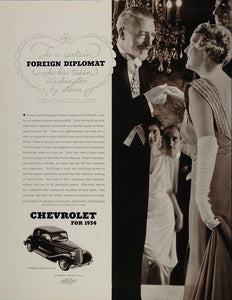 1934 Ad Chevrolet Master Six Coupe Car Foreign Diplomat - ORIGINAL FT1