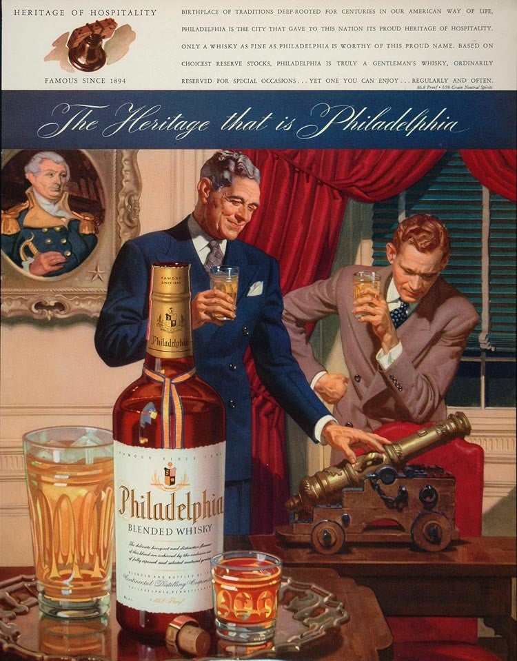 1943 Ad Philadelphia Blended Whiskey Whisky Bottle - ORIGINAL ADVERTISING FT2