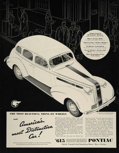 1936 Ad Pontiac Eight Four-Door Touring Sedan Auto Car - ORIGINAL FT4