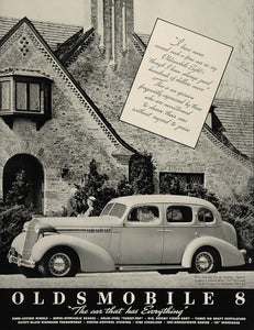 1936 Ad Vintage Oldsmobile 8 Touring Sedan Car Olds - ORIGINAL ADVERTISING FT4
