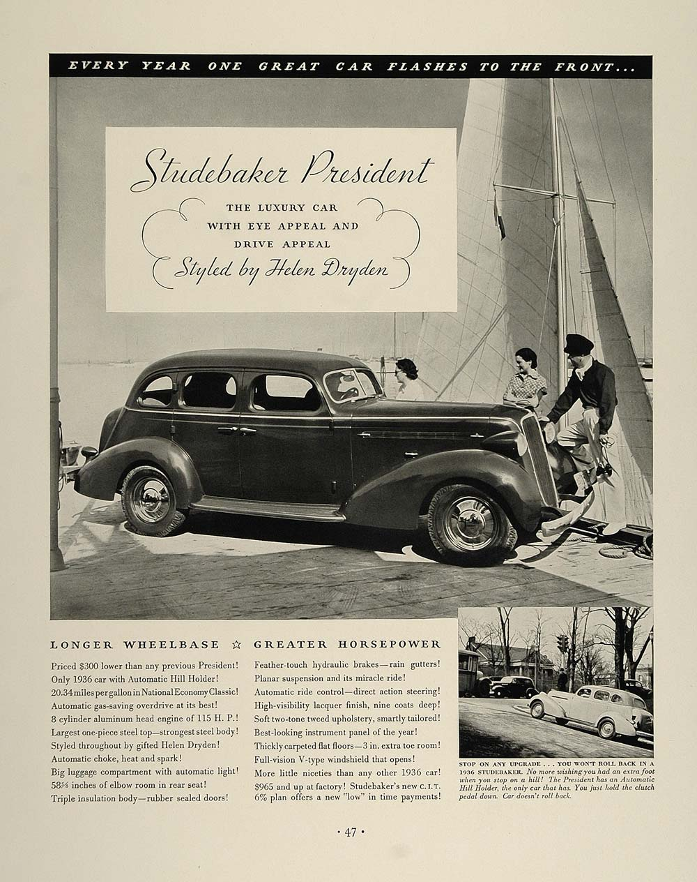 1936 Ad Vintage Studebaker President Car Yacht Sailboat - ORIGINAL FT4
