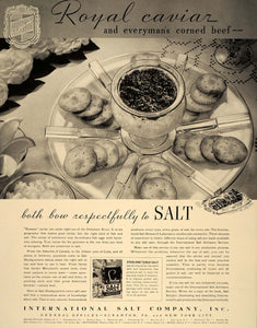 1939 Ad International Salt Company Russian Caviar Tray - ORIGINAL FT6