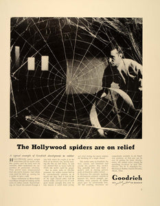1939 Ad Goodrich Rubber Cement Hollywood Spider Web - ORIGINAL ADVERTISING FT6