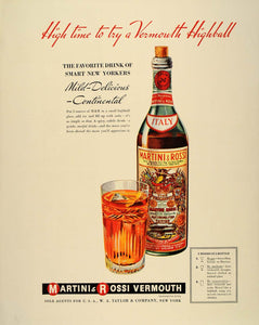 1939 Ad Martini & Rossi Vermouth Highball Cocktail - ORIGINAL ADVERTISING FT6