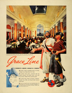 1939 Ad Grace Line Ship Dining Room Pirates Buccaneers - ORIGINAL FT6