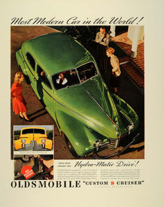 1940 Ad Oldsmobile Custom 8 Cruiser Green Automatic Car - ORIGINAL FT6