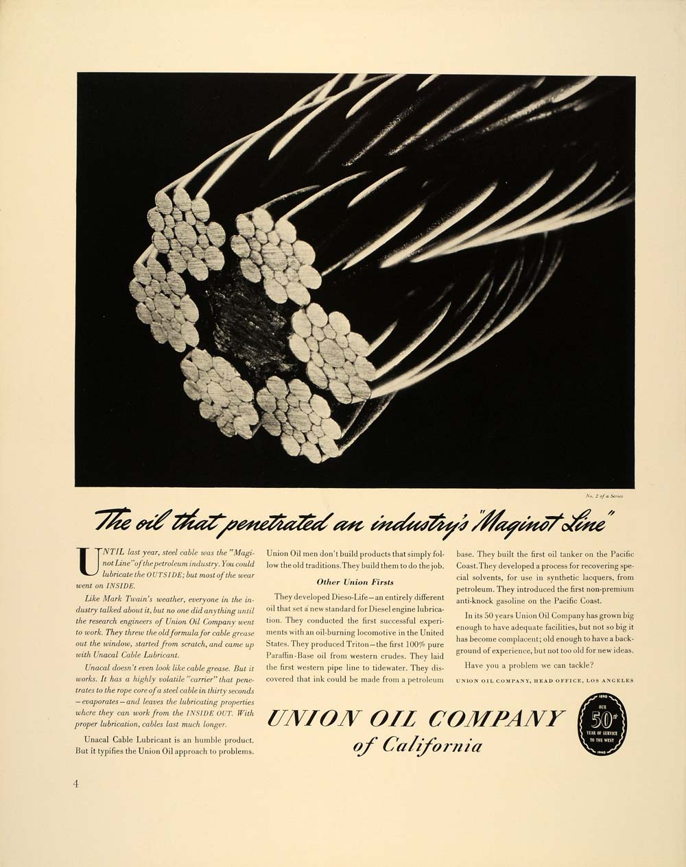 1940 Ad Union Oil Company Unacal Steel Cable Lubricant - ORIGINAL FT6