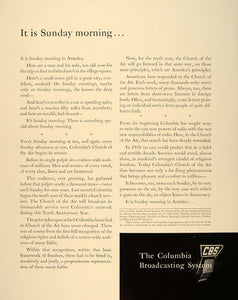 1940 Ad CBS Sunday Radio Columbia's Church of the Air - ORIGINAL ADVERTISING FT6