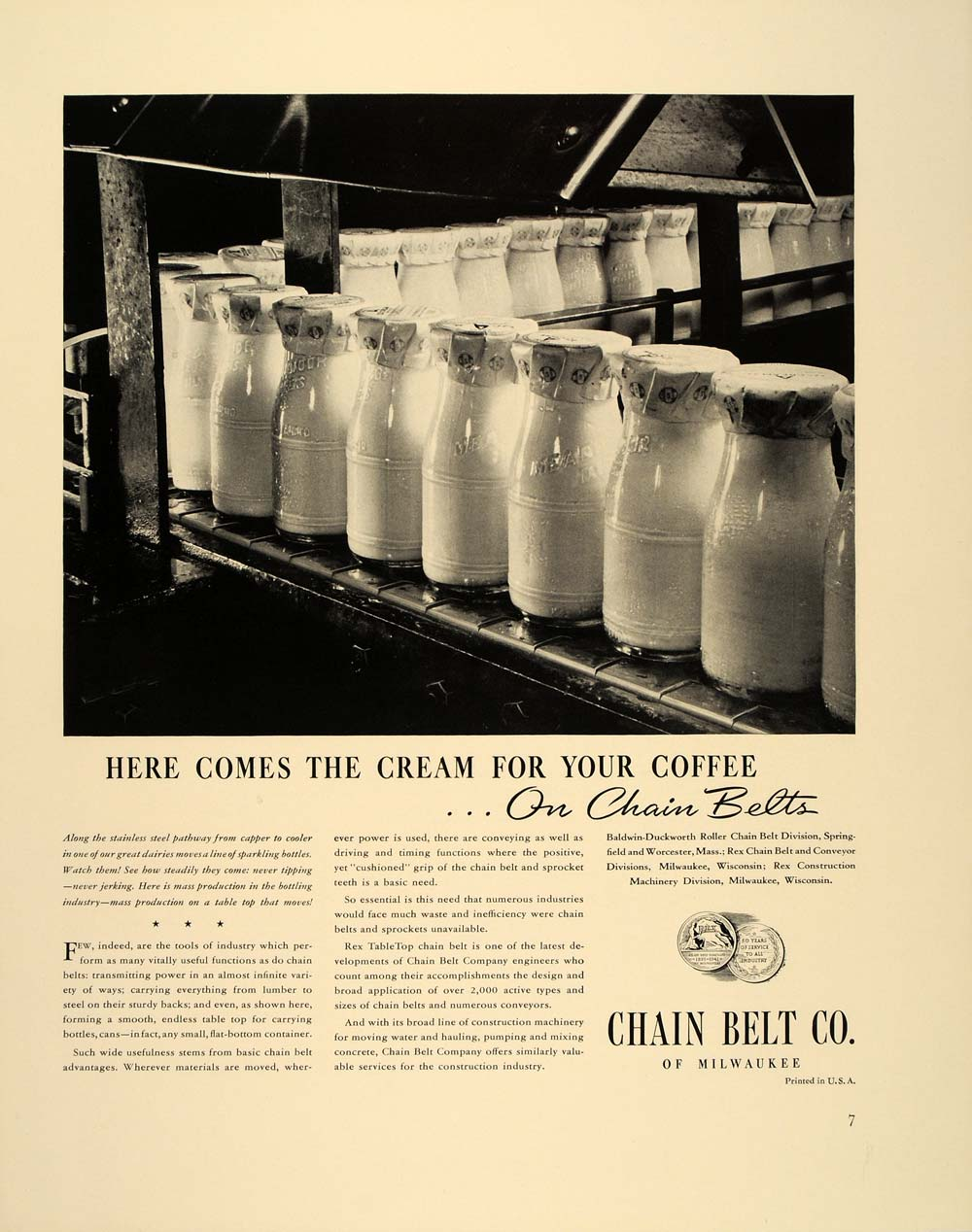 1941 Ad Chain Conveyor Belt Cream Bottles Milk Dairy - ORIGINAL ADVERTISING FT6