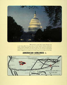 1941 Ad American Airlines Map Washington D.C. Capitol - ORIGINAL ADVERTISING FT6 - Period Paper