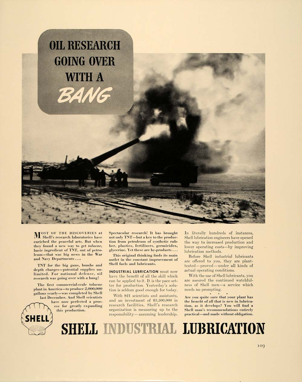 1941 Ad Shell Oil Toluene TNT Artillery Gun Lubricants - ORIGINAL FT6