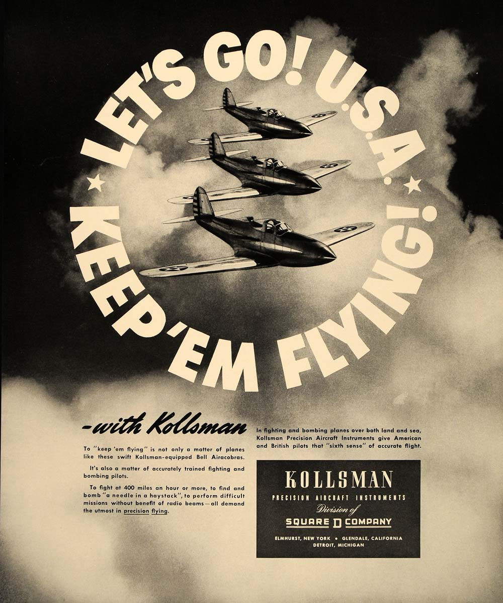 1941 Ad Kollsman Keep 'Em Flying Bell Airacobra Planes - ORIGINAL FT6
