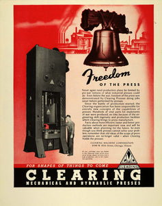 1943 Ad WWII Clearing Industrial Press Liberty Bell Wartime Media FT6