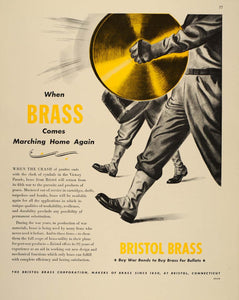 1943 Ad WWII Bristol Brass Cymbals Military Band Parade Wartime Munitions FT6