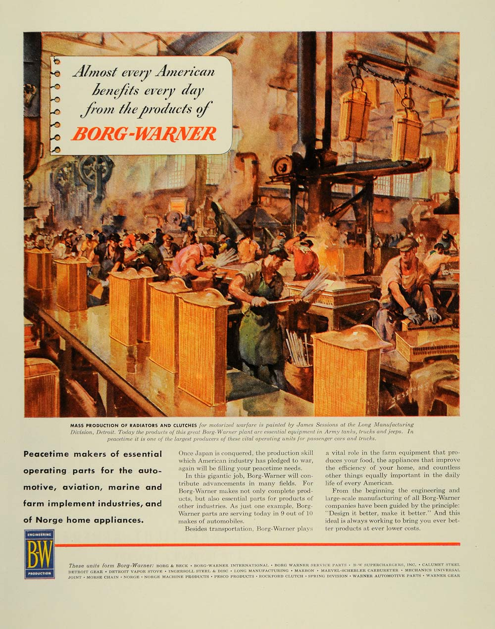 1945 Ad WWII Borg Warner Factory Plant James Sessions - ORIGINAL ADVERTISING FT6