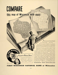 1938 Ad First Wisconsin National Bank Milwaukee Map - ORIGINAL ADVERTISING FT7