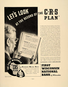 1938 Ad First Wisconsin National Bank of Milwaukee CRS - ORIGINAL FT7