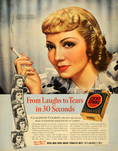 1938 Ad Lucky Strike Cigarettes Claudette Colbert Film - ORIGINAL FT7
