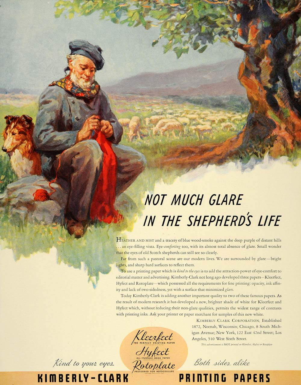 1938 Ad Kimberly Clark Papers Scotland Shepherd Sheep - ORIGINAL ADVERTISING FT7