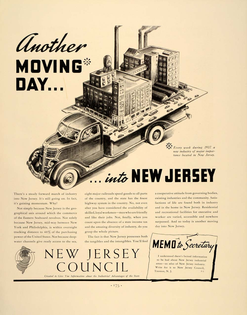 1938 Ad New Jersey State Industry Business Development - ORIGINAL FT7