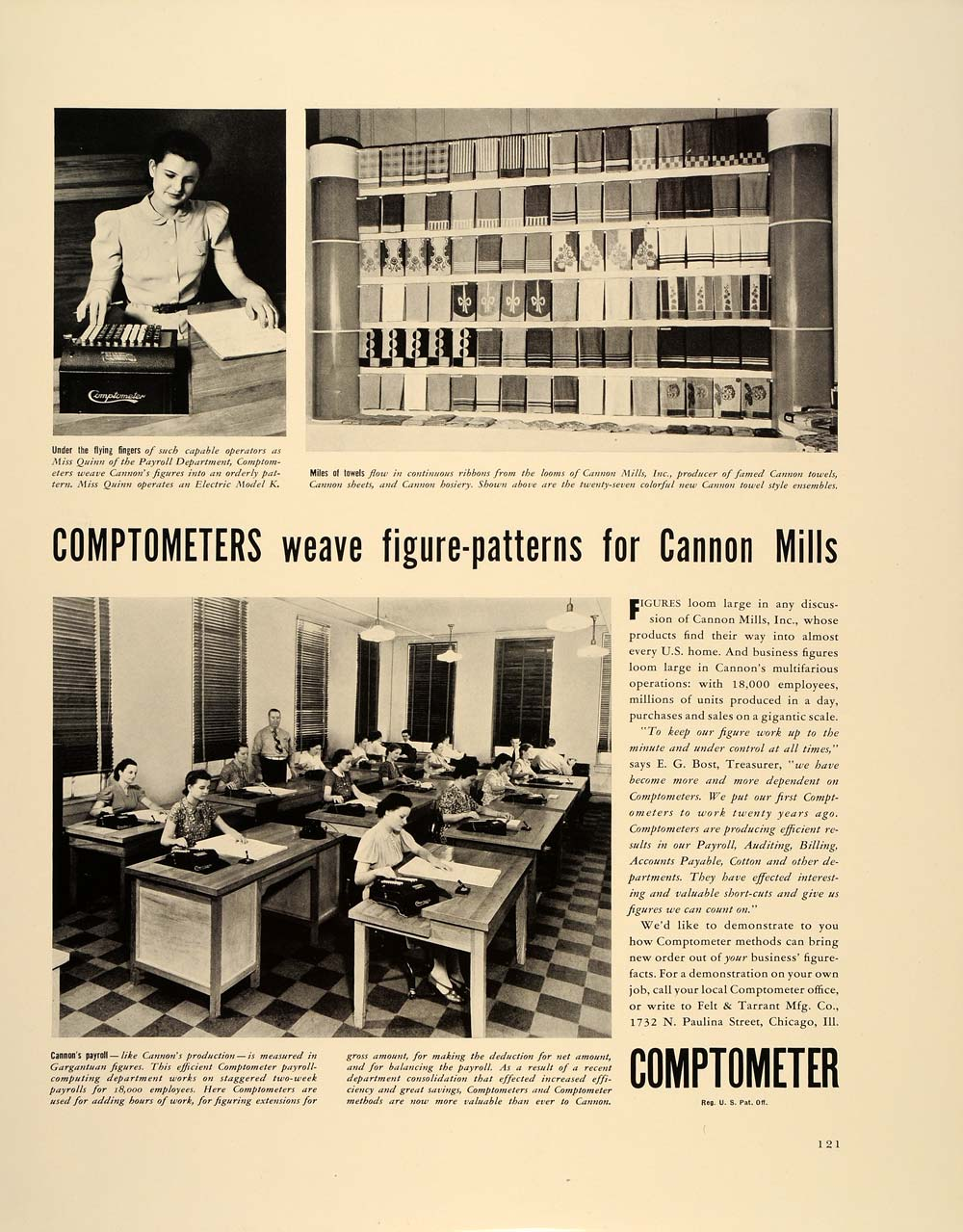 1938 Ad Comptometer Accounting Payroll Cannon Mills - ORIGINAL ADVERTISING FT7