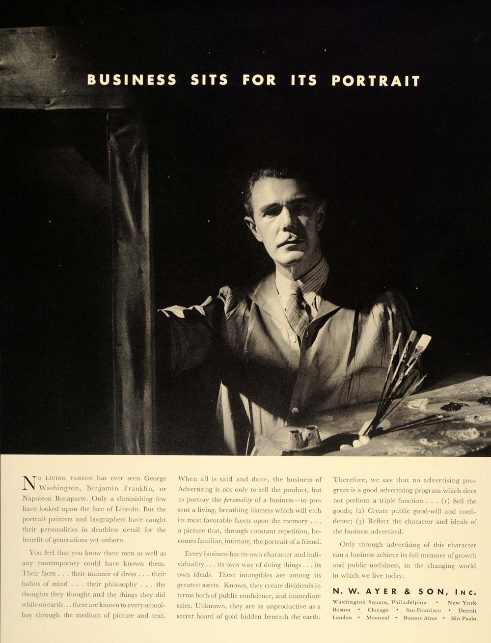 1937 Ad N. W. Ayer & Son Advertising Portrait Painter - ORIGINAL ADVERTISING FT8