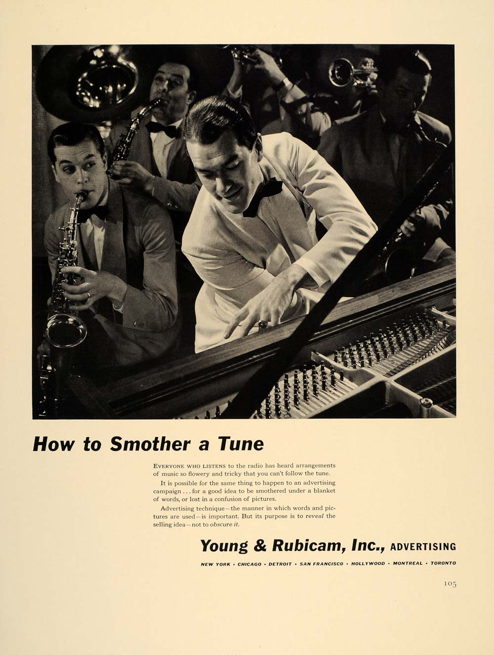 1941 Ad Young & Rubicam Advertising Band Sax Piano Tune - ORIGINAL FT8