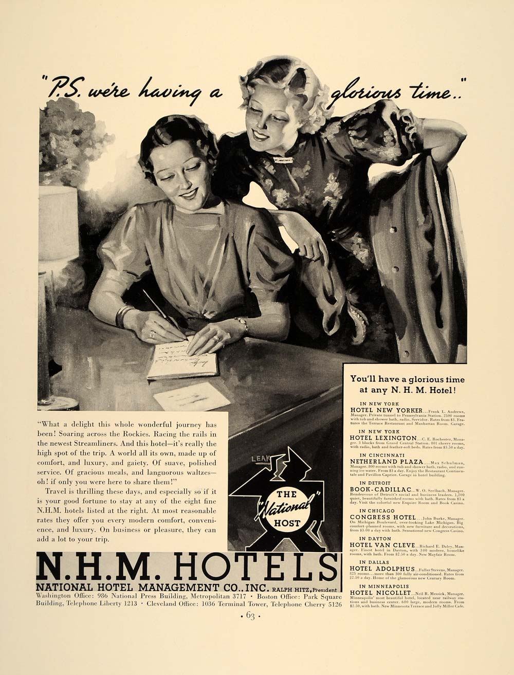 1937 Ad N.H.M Hotels National Hotel Management Company - ORIGINAL FT8