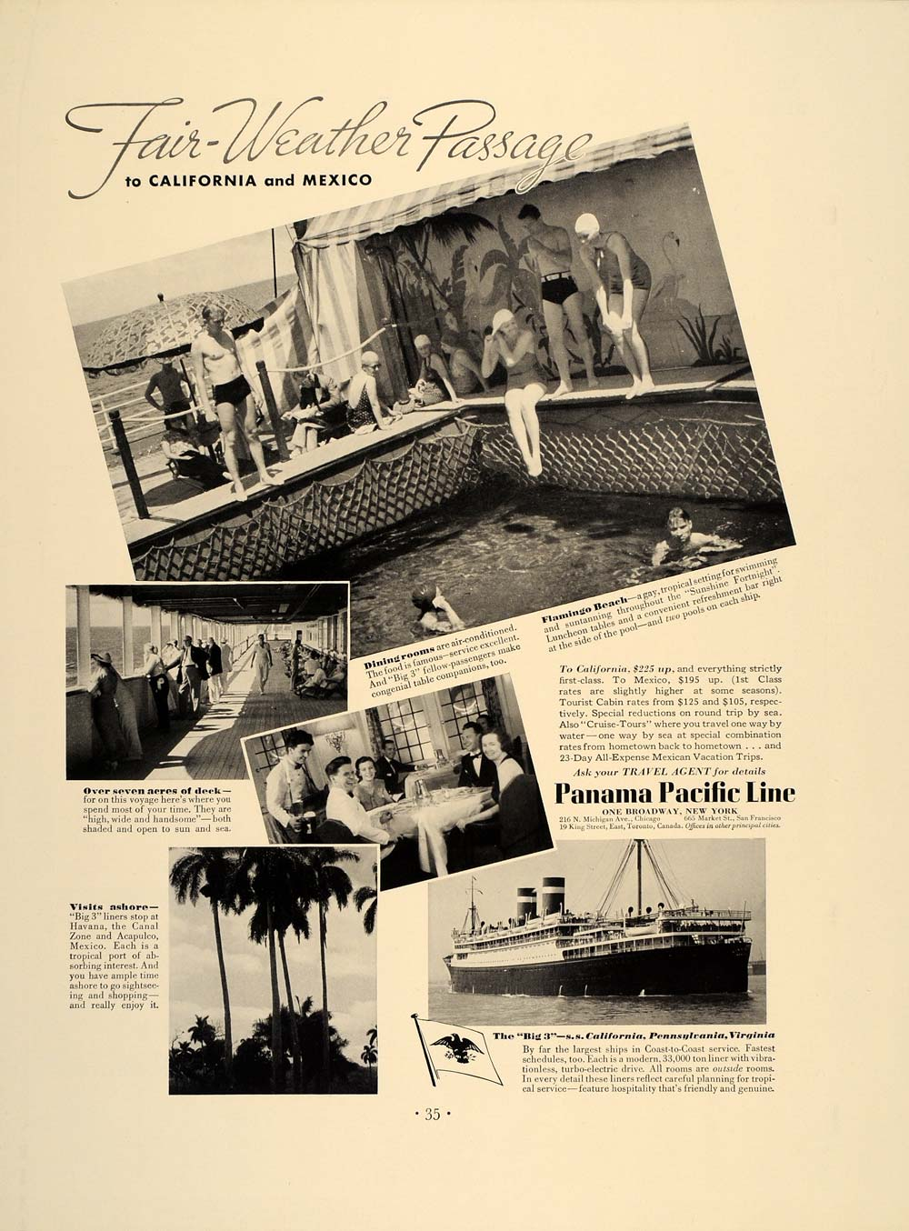 1937 Ad Panama Pacific Line Cruises Flamingo Beach Pool - ORIGINAL FT8