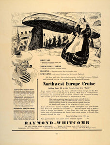 1937 Ad Raymond-Whitcomb European Cruise Brittany - ORIGINAL ADVERTISING FT8