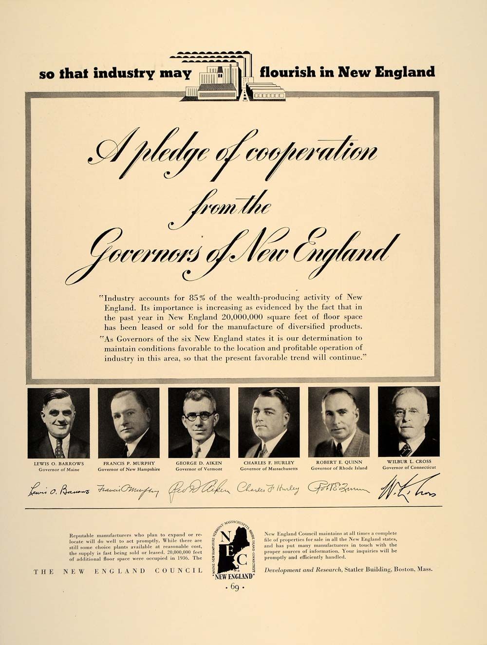 1937 Ad New England Governors Industrial Development - ORIGINAL ADVERTISING FT8