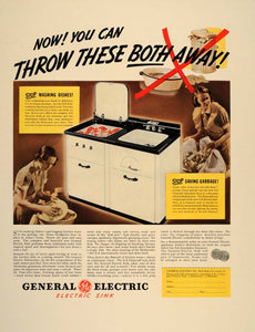1937 Ad General Electric GE Dishwasher Sink Disposal Kitchen Appliance FT8