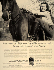 1941 Ad International Salt Woman Horse Leather Tanning - ORIGINAL FT8