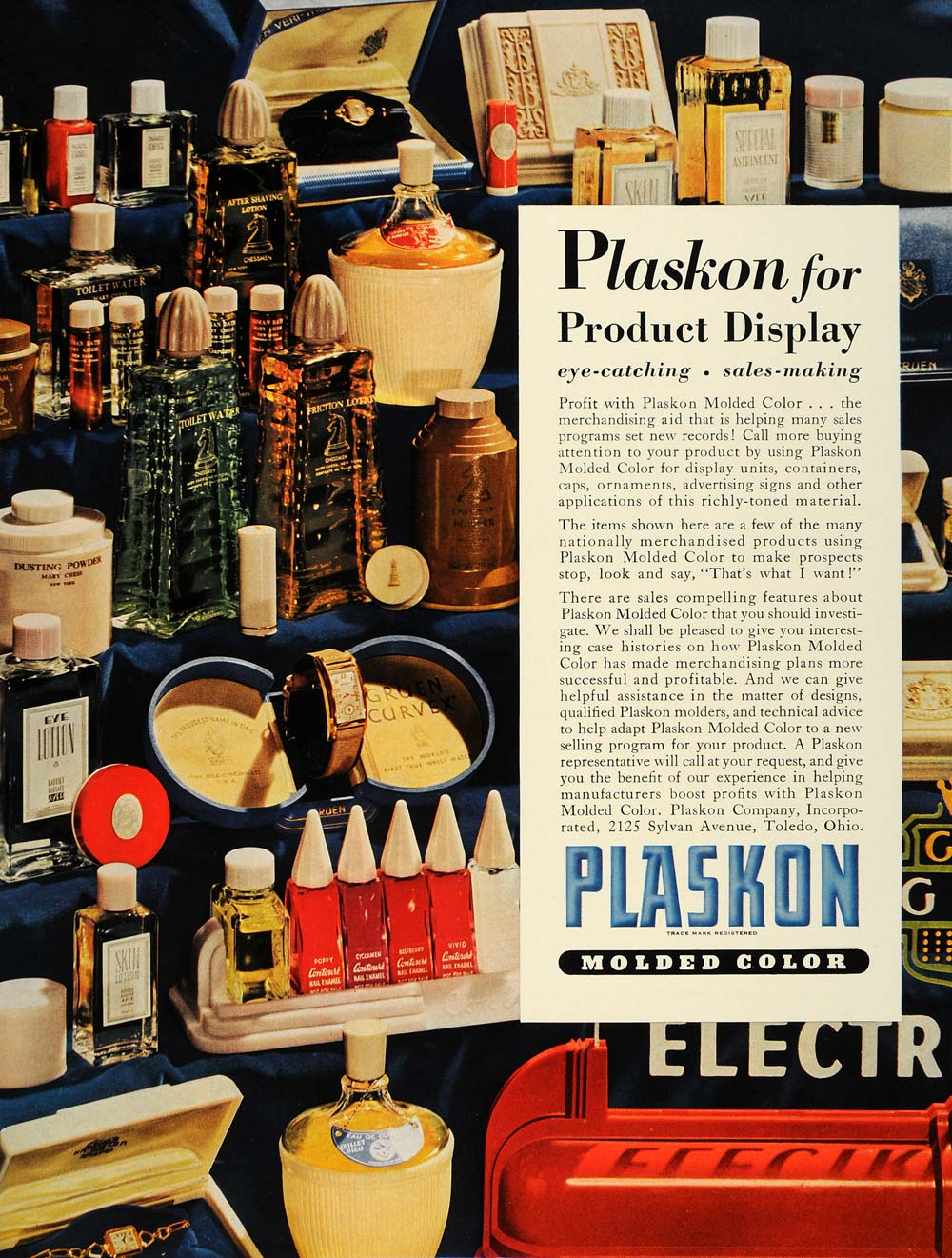 1940 Ad Plaskon Molded Color Plastic Product Display - ORIGINAL ADVERTISING FT8