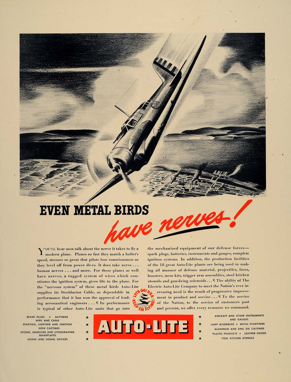 1941 Ad Electric Auto-Lite WWII Defense Airplane Parts - ORIGINAL FT8