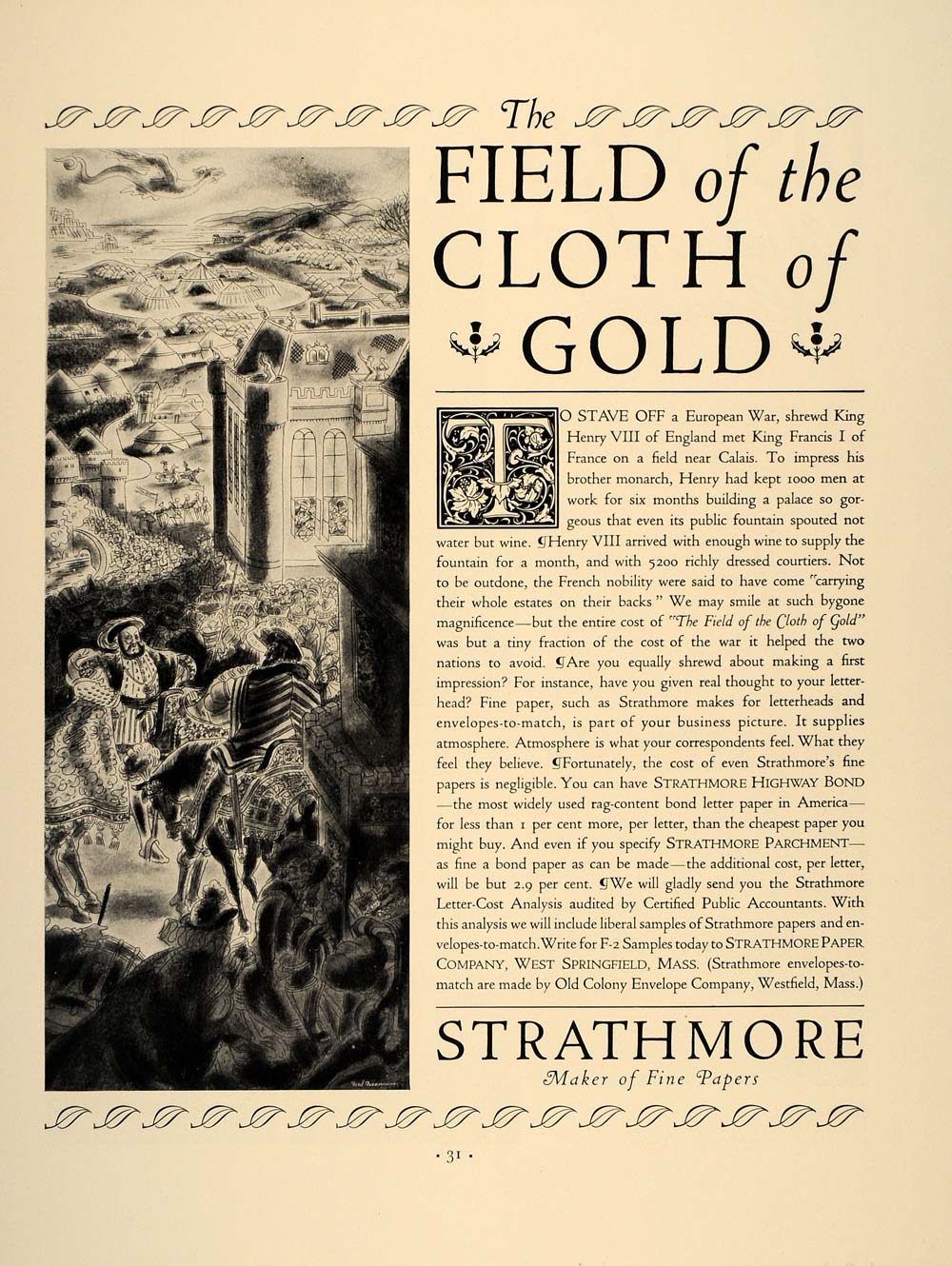 1937 Ad Strathmore Paper Field Cloth of Gold Henry VIII - ORIGINAL FT8