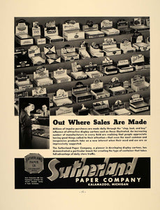 1937 Ad Sutherland Paper Display Cartons Kalamazoo MI - ORIGINAL ADVERTISING FT8
