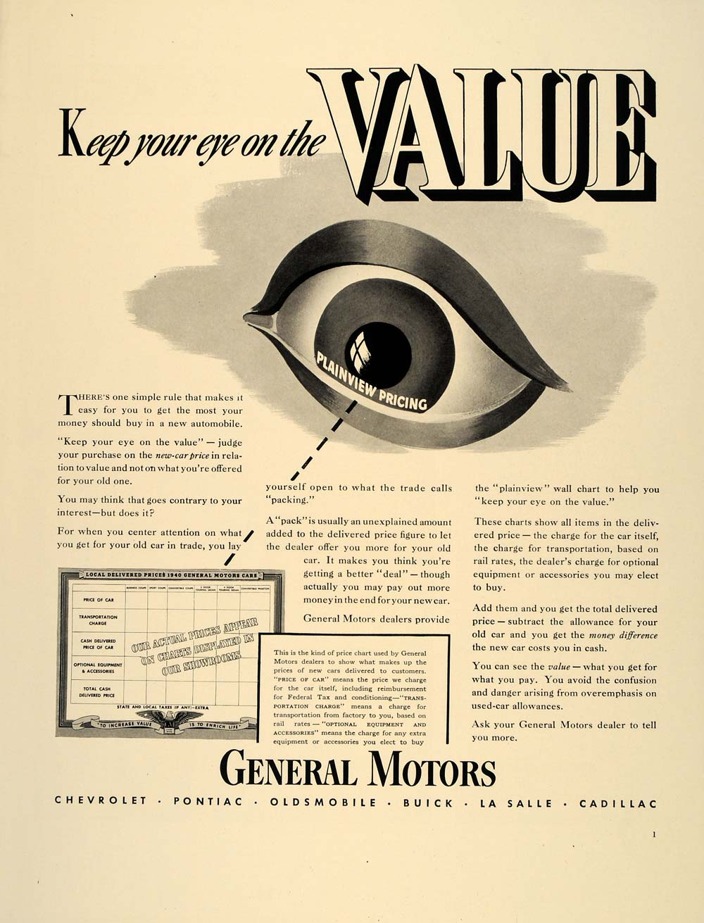1940 Ad General Motors GM Plainview Pricing Cars Eye - ORIGINAL ADVERTISING FT8