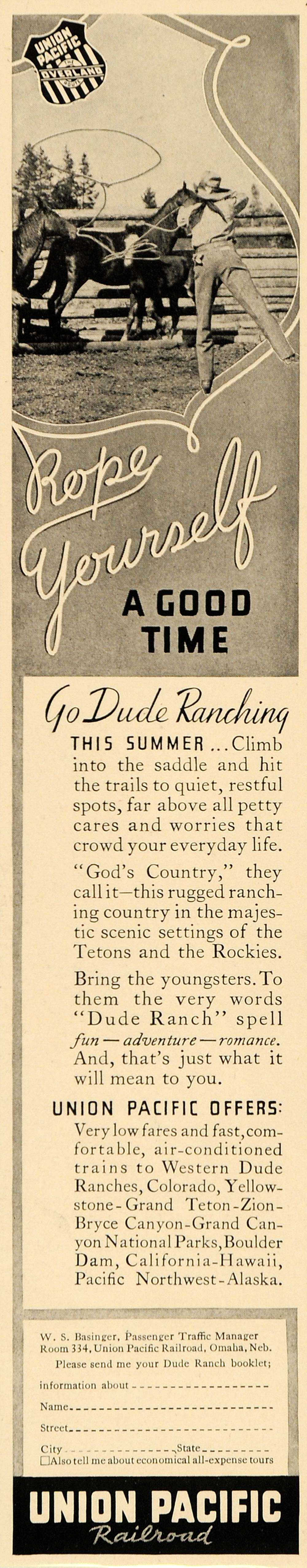 1936 Ad Union Pacific Railroad Summer Dude Ranching Fun - ORIGINAL FT9