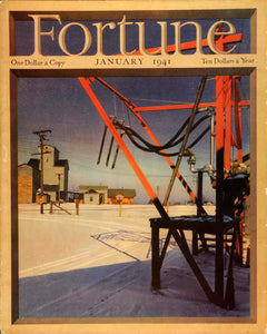1941 Cover Fortune Magazine January Otto Hagel Winter Snow Rural Grain FTC1