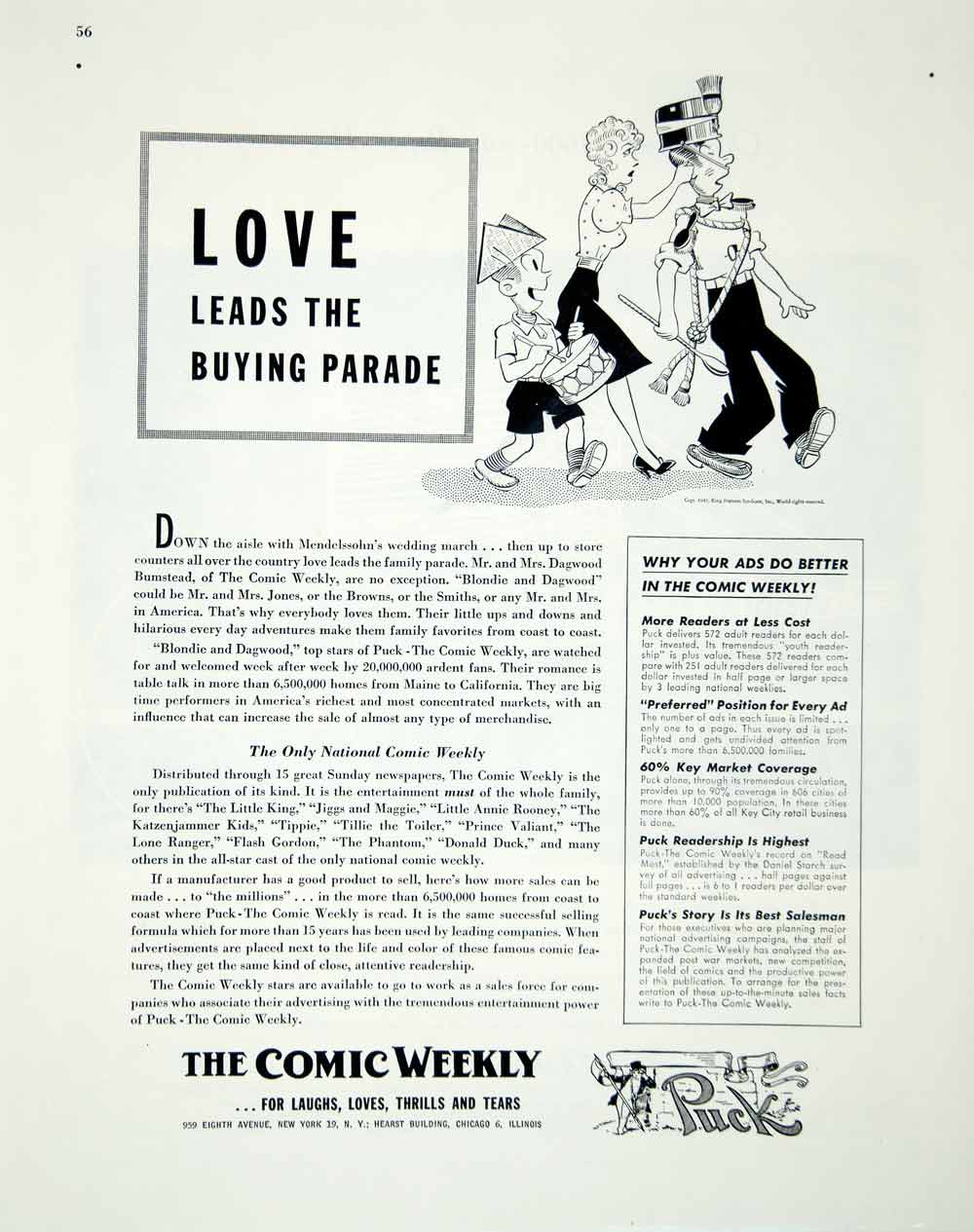 1946 Ad Comic Weekly Puck Chicago Illinois Funny Humorous National FTM1